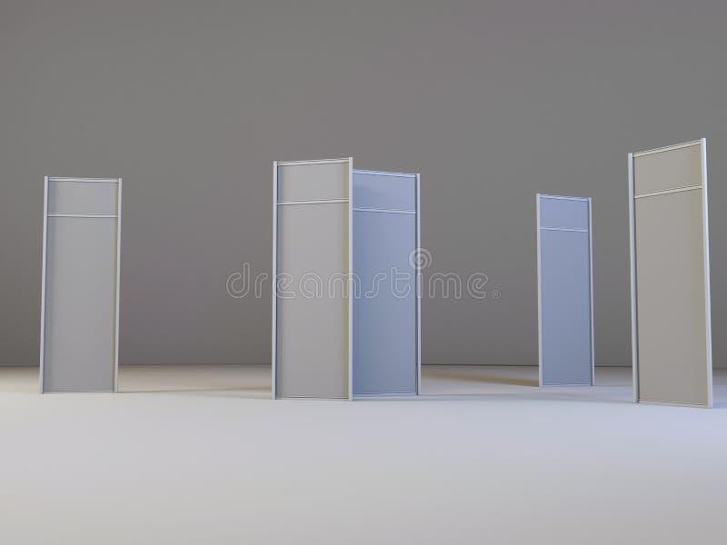 Lcd-Anzeigen-Ausstellung steht mit verschiedenen Winkeln Weißer und leerer LCD-Messen-Stand vektor abbildung