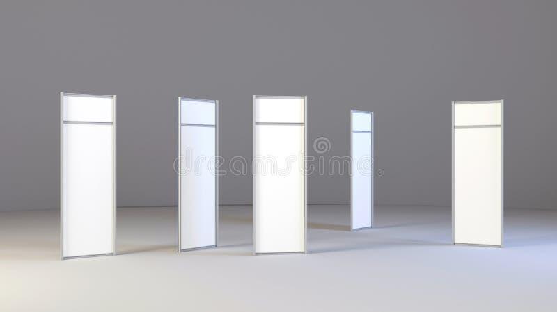 Lcd-Anzeigen-Ausstellung steht mit verschiedenen Winkeln Weißer und leerer LCD-Messen-Stand lizenzfreie abbildung