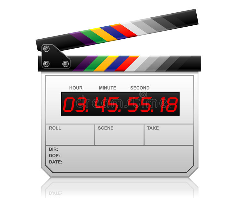 LCD clapper. Vector: LCD clapper, colorful clapper royalty free illustration