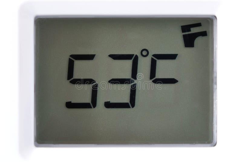 LCD com as leituras da temperatura 53 graus Célsio imagens de stock royalty free