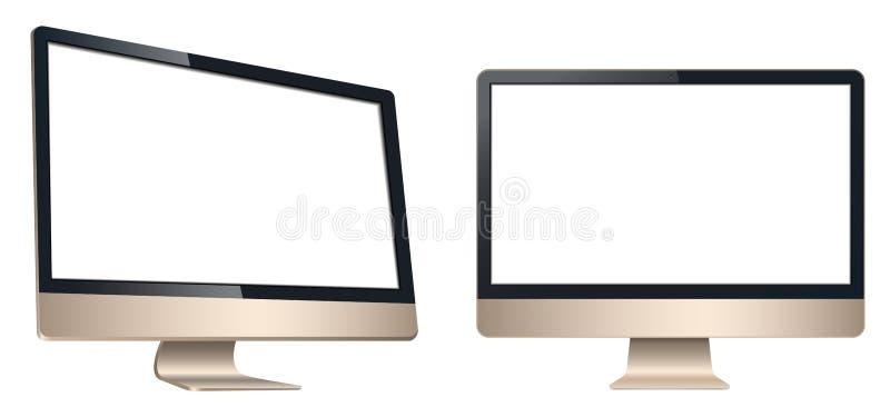 Lcd-dator, framdel för tvbildskärmsikt och vänstersida som isoleras på en vit bakgrund royaltyfri illustrationer