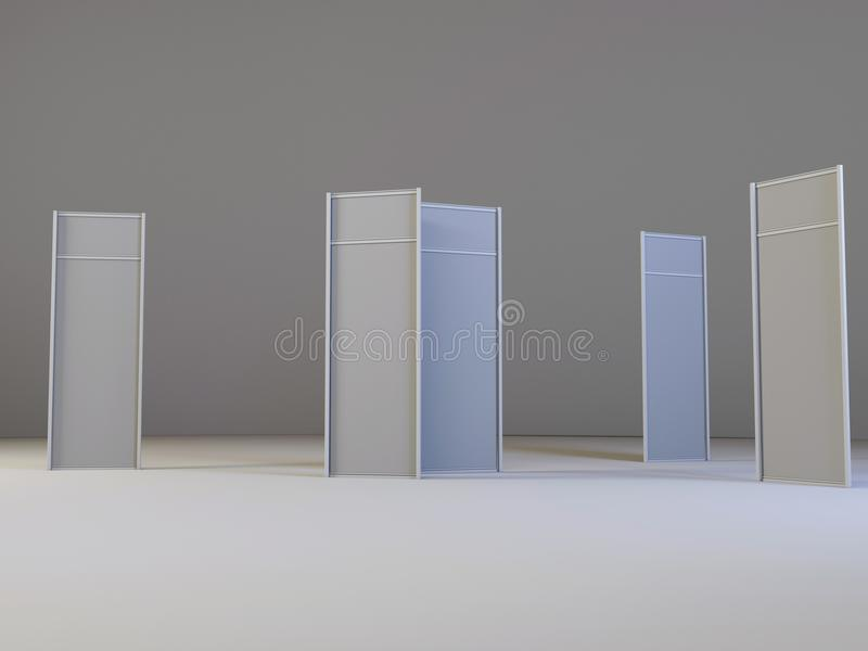 LCD display expo stands with different angles. White and Blank LCD Trade Show Booth. 3d render isolated on white background. High Resolution LCD. Ad template vector illustration