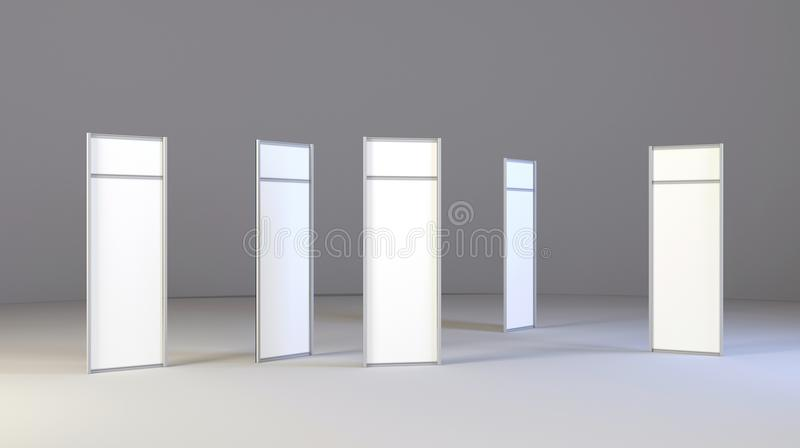 LCD Display Expo Stands with different angles. White and Blank LCD Trade Show Booth. 3d render isolated on white background. High Resolution LCD. Ad template royalty free illustration