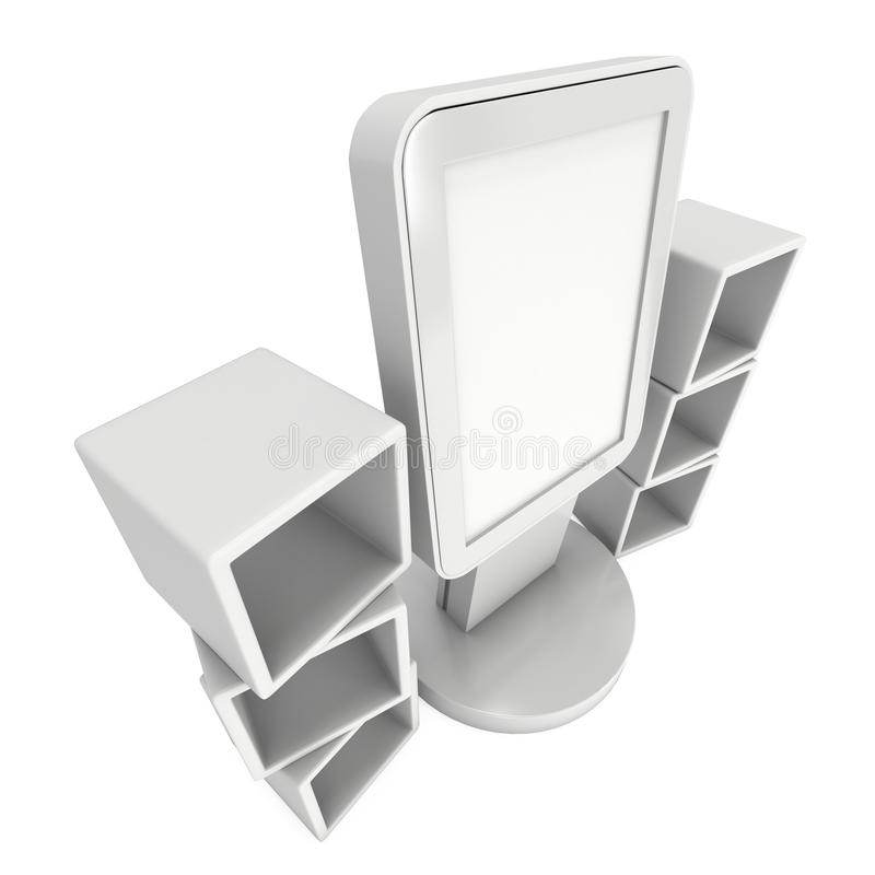 LCD display stand and display boxes. LCD Display Stand and product display boxes. Blank Trade Show Booth. 3d render on white background. High Resolution image vector illustration