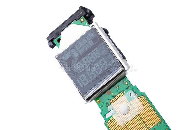 LCD distance meter indicator stock photo