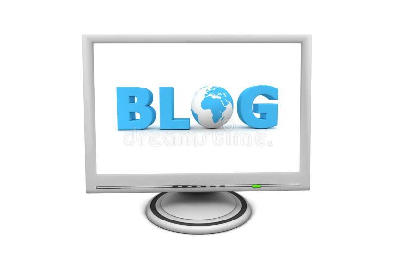 LCD Flat Screen Monitor Blog vector illustration