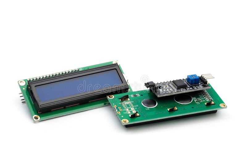 LCD indicator die op witte achtergrond wordt geïsoleerd stock afbeelding