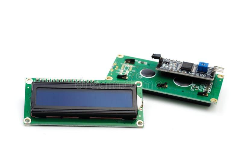 LCD indicator op witte achtergrond wordt geïsoleerd die stock afbeelding