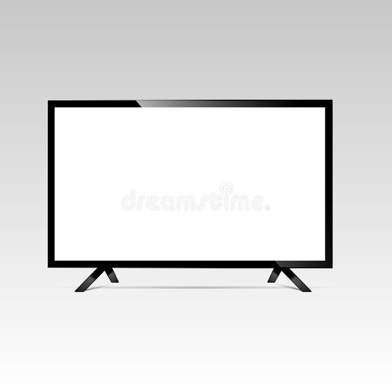 LCD or LED tv screen. Display blank, technology digital, electronic equipment, mockup. Vector illustration.  stock illustration