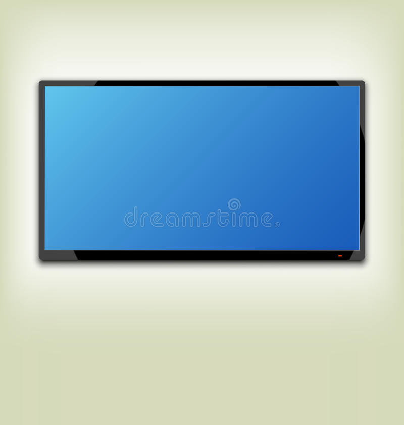 LCD or LED tv screen hanging on the wall. Illustration LCD or LED tv screen hanging on the wall - vector stock illustration