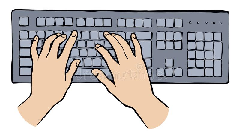 Hands On The Keyboard Vector Drawing Stock Vector Illustration Of Button Connection 155586888