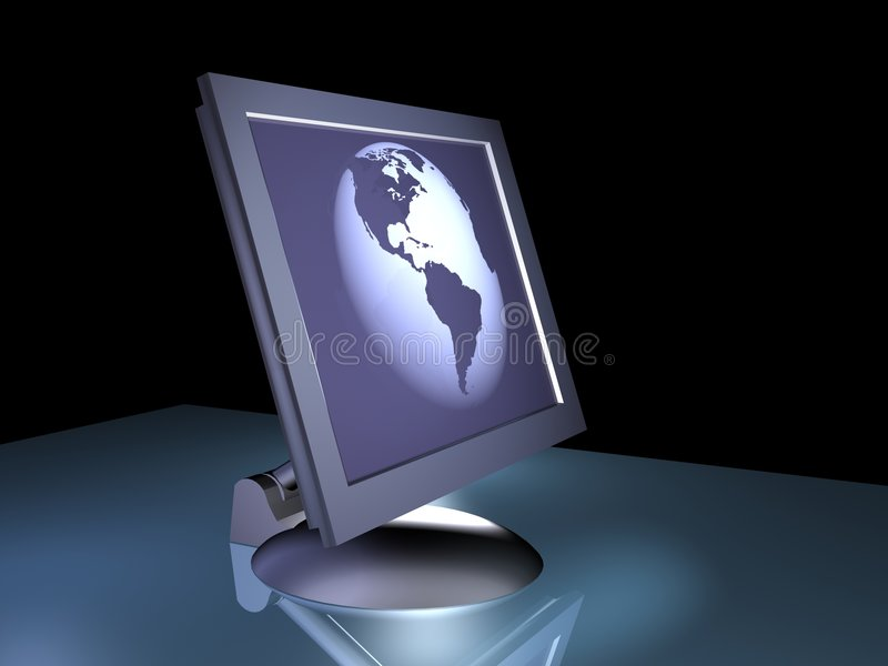 LCD MONITOR. Rendered LCD monitor view earth globe royalty free illustration