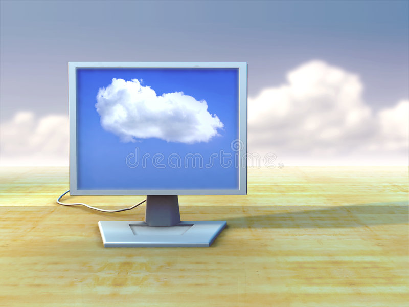 Lcd monitor. Monitor shows a single puffy cloud over a blue sky. Digital illustration royalty free illustration