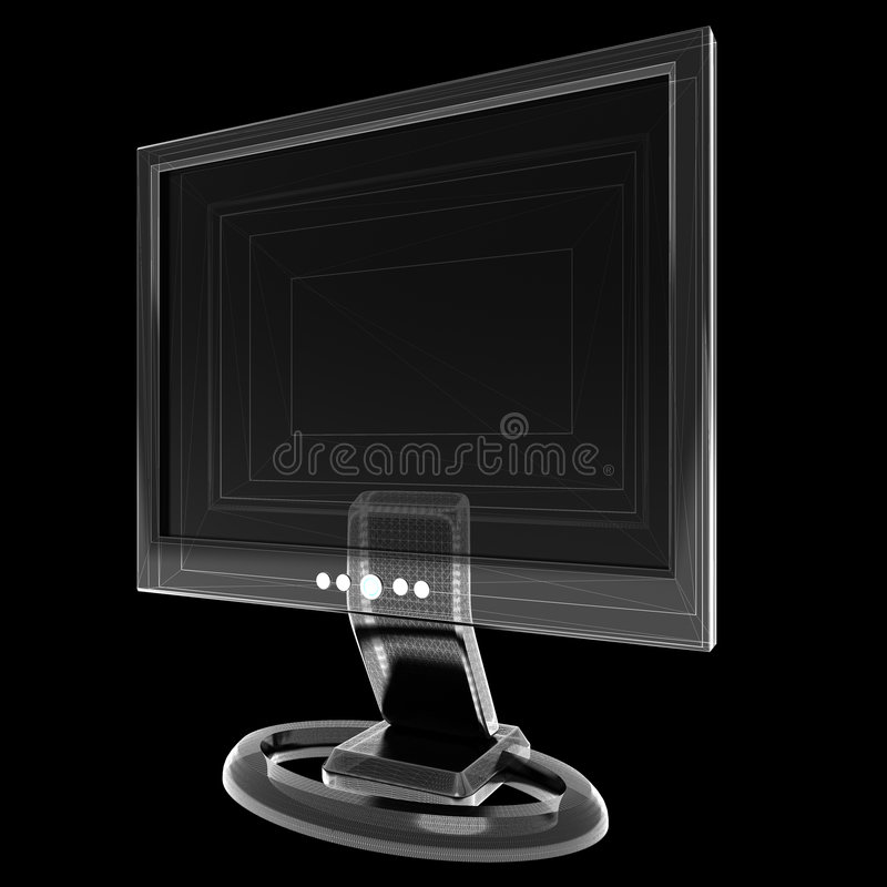 LCD Monitor on black with light Wireframe vector illustration