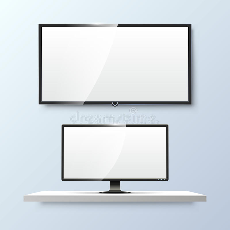 Lcd monitor and empty white flat TV screen. Vector. Lcd monitor and empty white flat TV screen. Display blank, technology digital, electronic equipment. Vector stock illustration