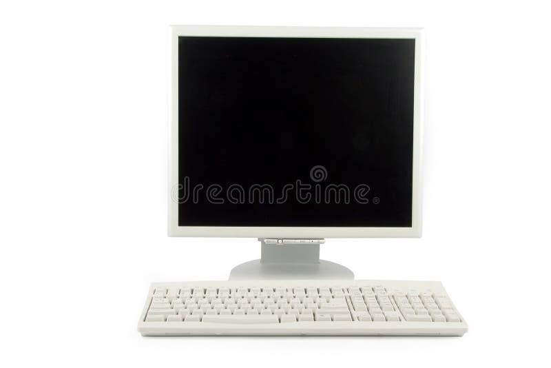 Lcd monitor en toetsenbord stock afbeeldingen