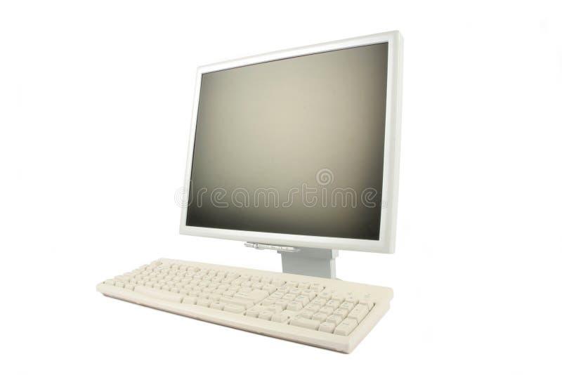 Lcd monitor en toetsenbord stock foto