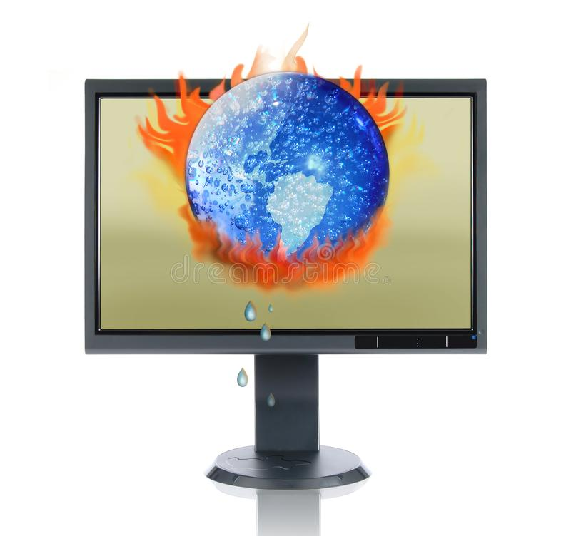 Download LCD Monitor And Global Warming Stock Photo - Image: 2865588
