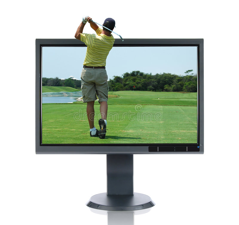 Download LCD Monitor and Golfer stock photo. Image of tech, plasma - 3220512