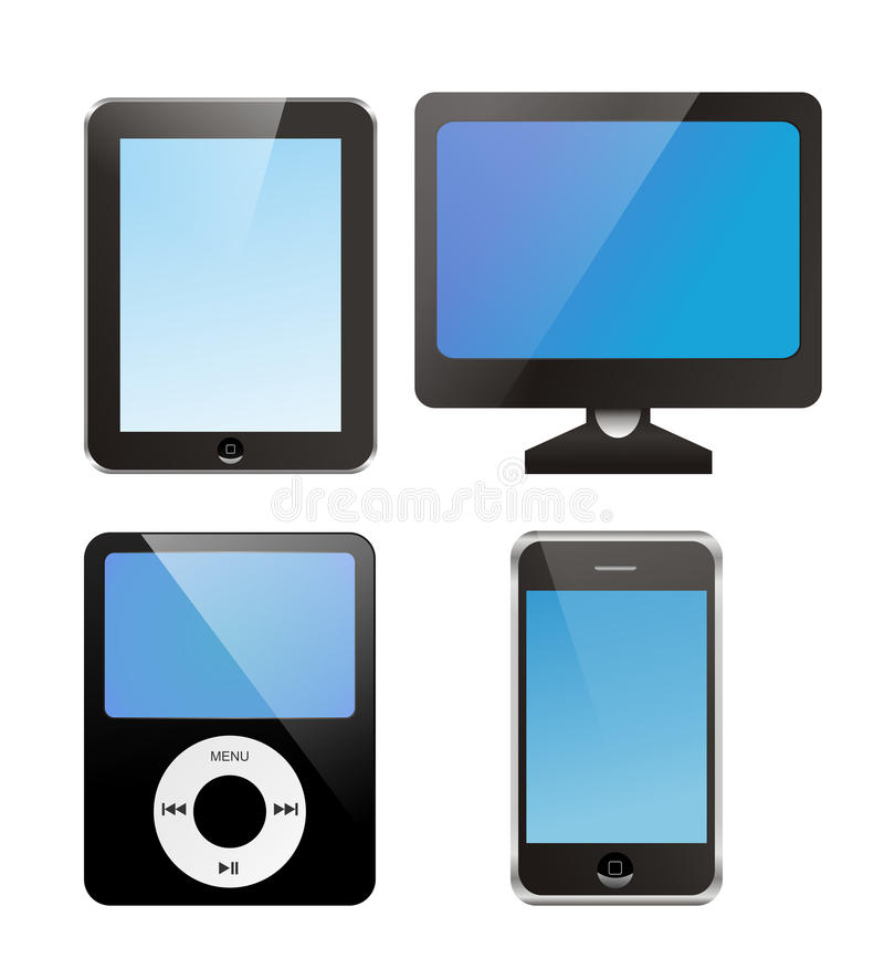 Lcd monitor, ipad, iphone,ipod vectors stock images