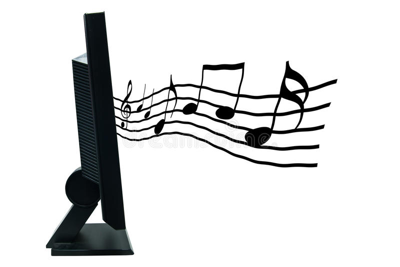 LCD monitor with musical notes. Coming out of it stock image