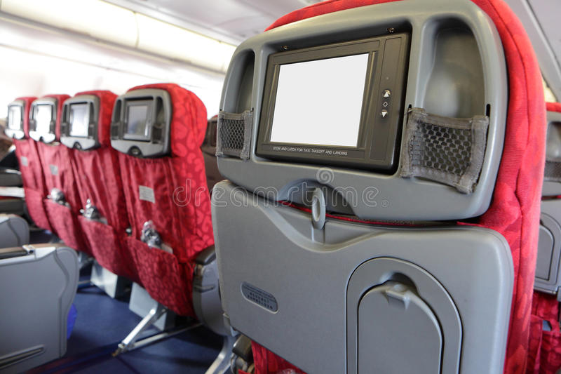LCD monitor on Passenger Seat of air plane royalty free stock image