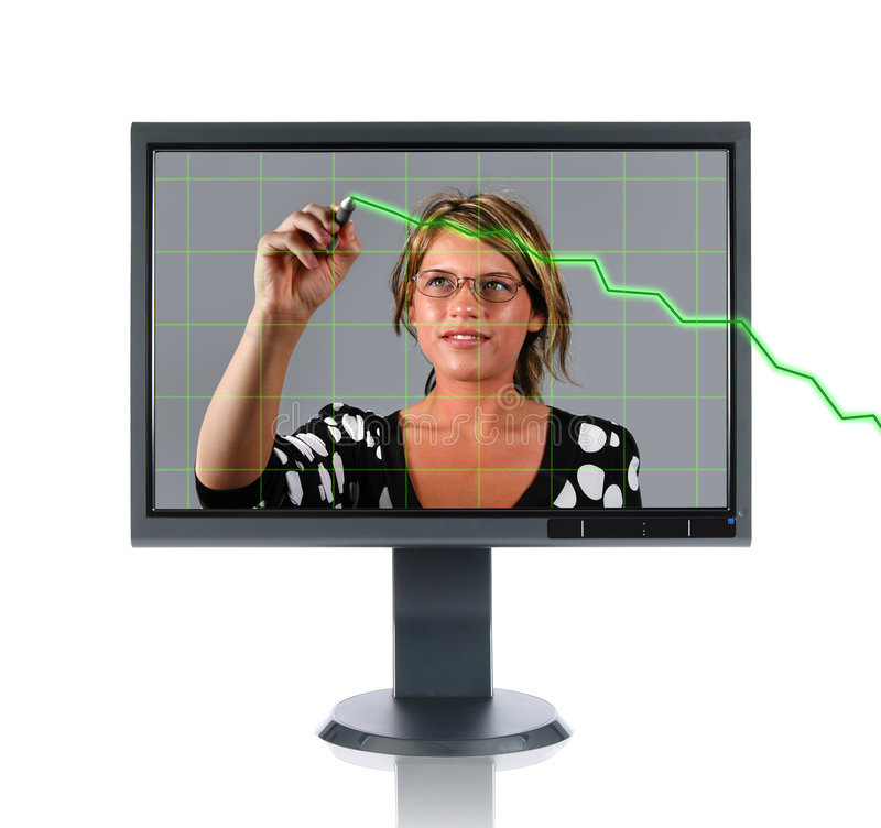 LCD Monitor Woman and Chart. A woman staring out from an lcd computer monitor drawing a line chart going up. Chart starts outside of the monitor stock photography
