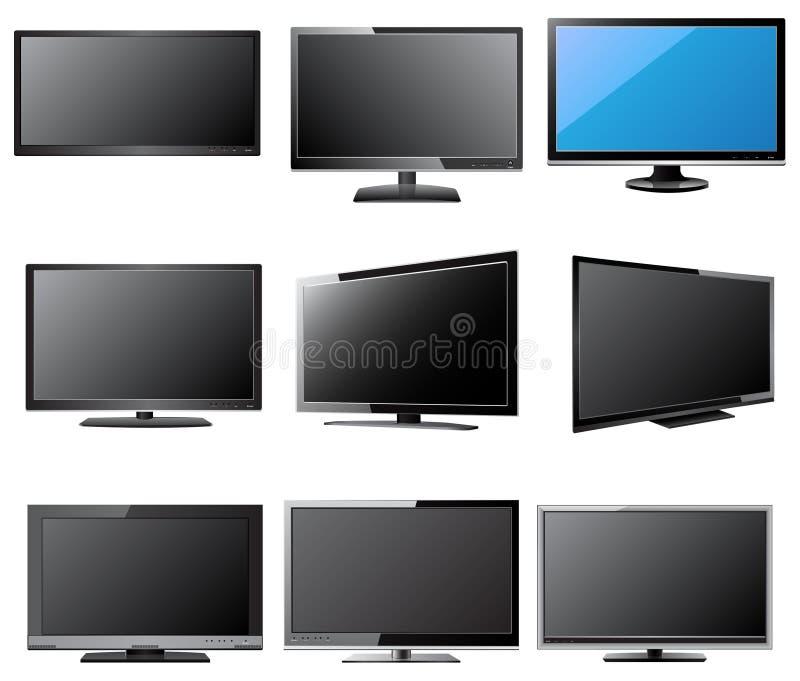 LCD och LEDD TVvektorillustration, EPS 10 royaltyfri illustrationer