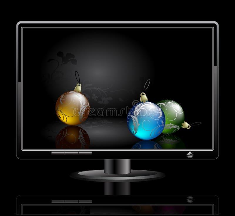 LCD paneel met Kerstmisballen stock illustratie