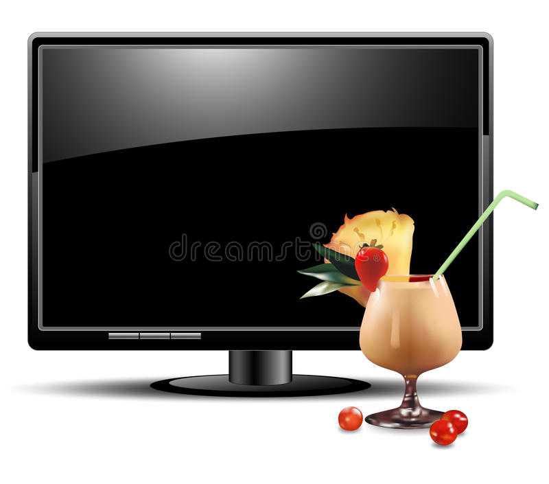 LCD Panel With Cocktail Royalty Free Stock Photo