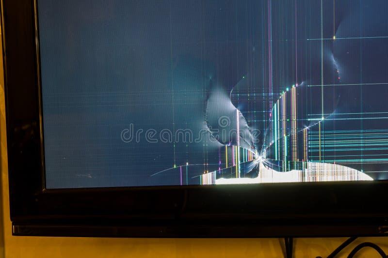 LCD rotto TV immagini stock libere da diritti