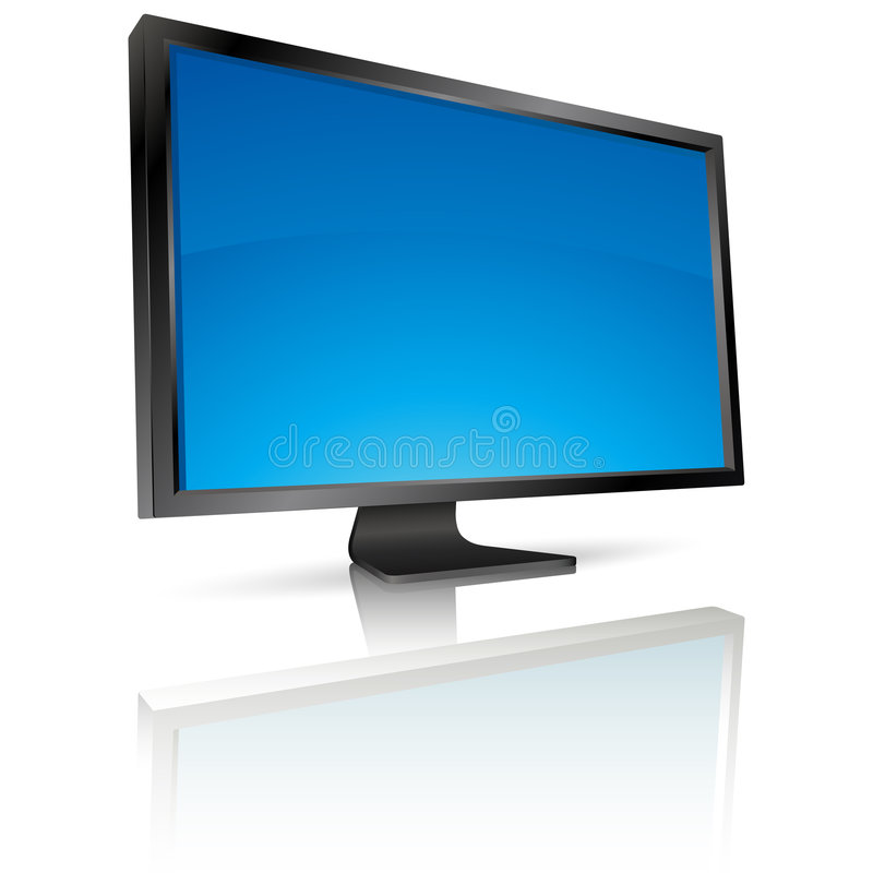 LCD screen. Monitor with reflection royalty free illustration