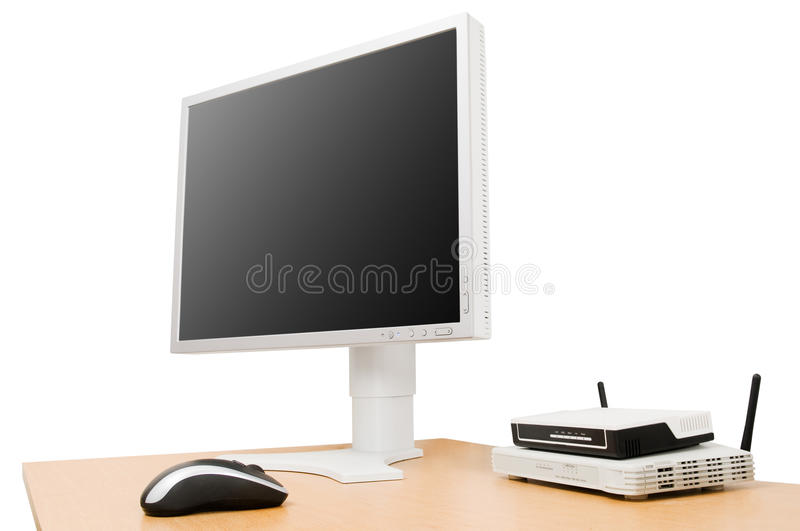 Download LCD screen on desk stock photo. Image of monitor, commerce - 10049408