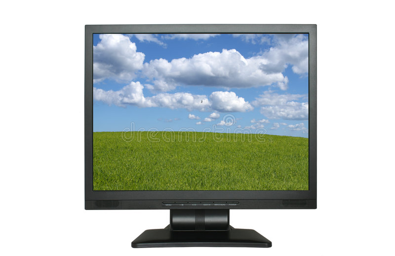 Lcd screen with gorgeous landscape royalty free stock image