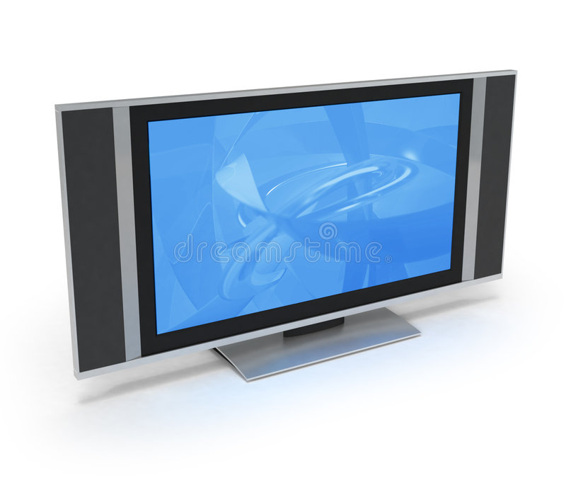LCD screen TV with blue display royalty free illustration