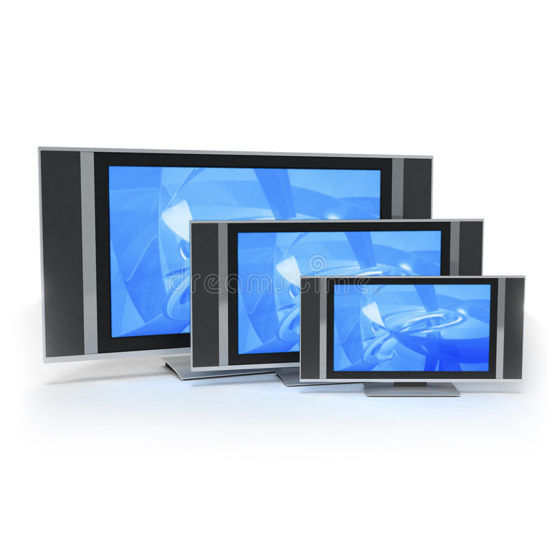 LCD screen TVs in 3 different sizes blue stock illustration
