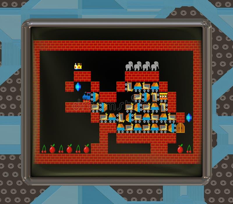 Lcd-skärmen med den retro stilleken frambragte textur royaltyfri illustrationer