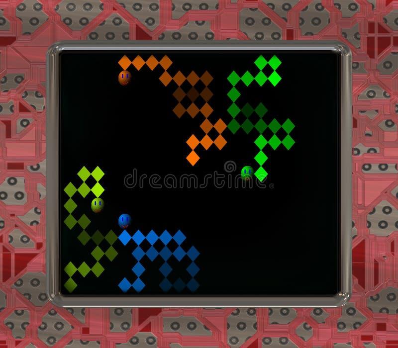 Lcd-skärmen med den retro stilleken frambragte textur vektor illustrationer