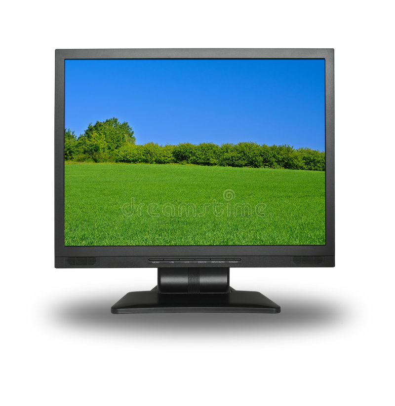 LCD with summer landscape royalty free stock image