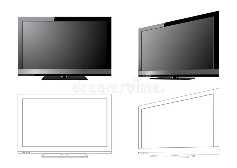 LCD TV. Widescreen black LCD TV in 2 angles and outlines royalty free illustration