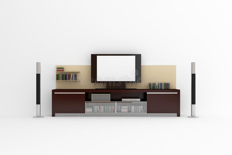 LCD TV. With shelves, acoustic system and accessories. Isolated on white stock illustration