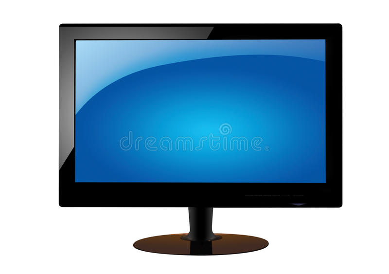 LCD TV. LCD monitor TV on white background royalty free stock photo