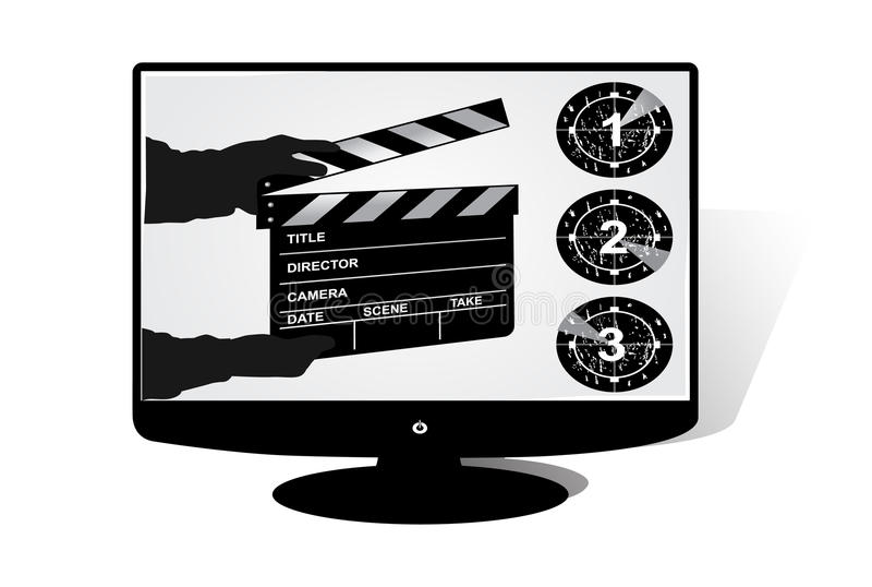LCD Tv. With film clap board background royalty free illustration
