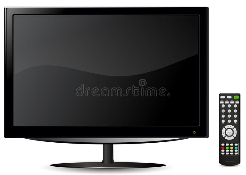 Lcd tv. With remote control vector illustration