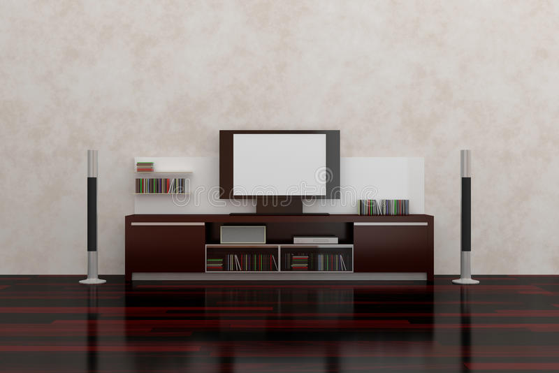 LCD TV. With empty white screen, shelves, acoustic system and accessories. Modern interior composition.3d rendered vector illustration