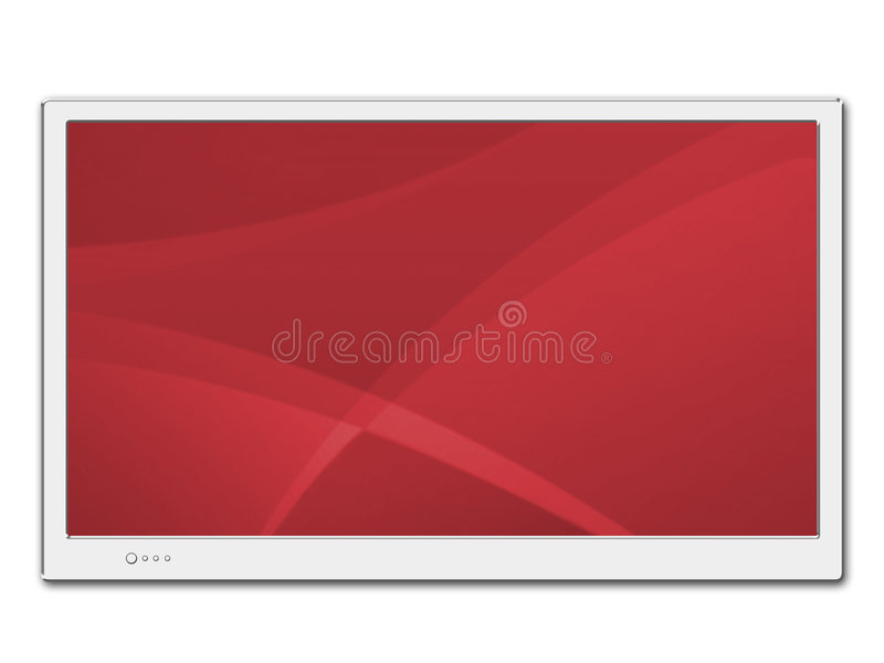 LCD TV. Isolated LCD TV screen on a white background stock illustration