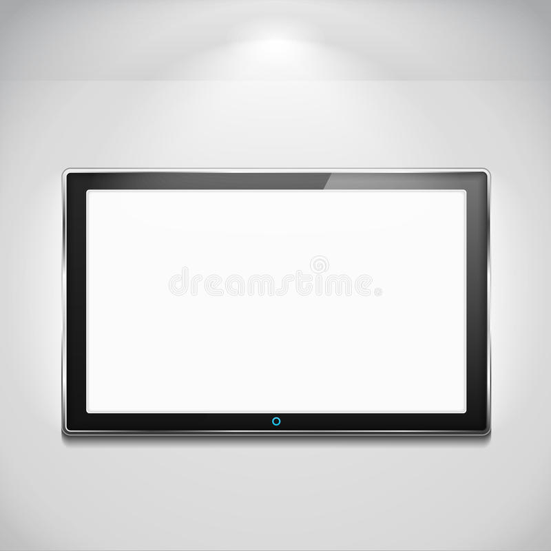 LCD TV. Hanging on the wall vector illustration