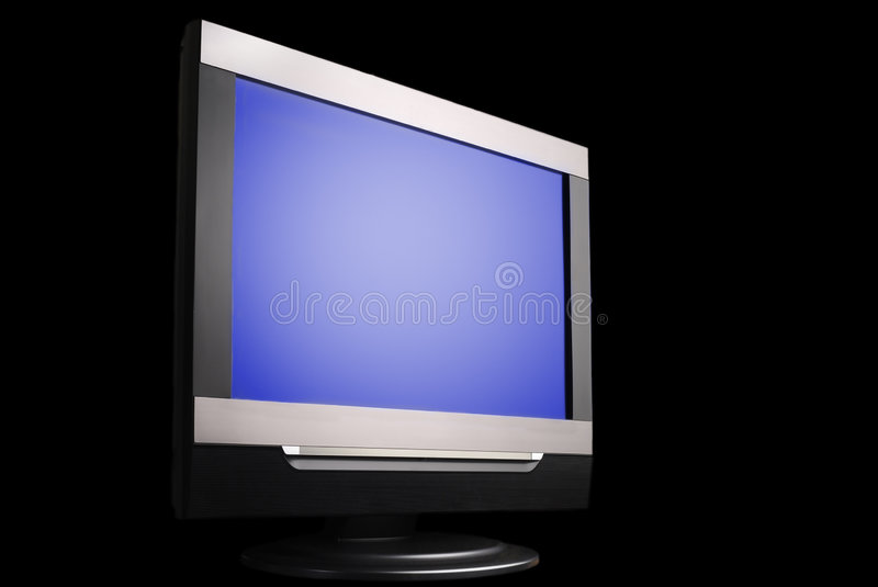 LCD TV. LCD color tv on black background stock illustration