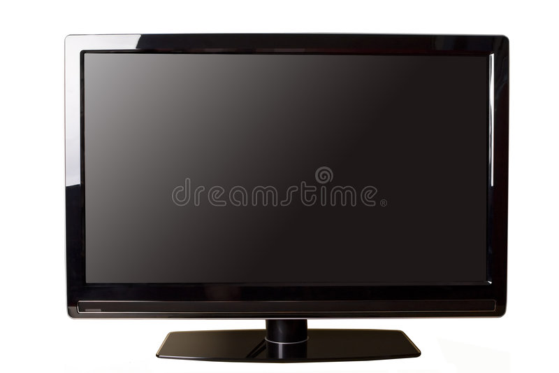 LCD TV. 42 inch widescreen black LCD TV isolated on white