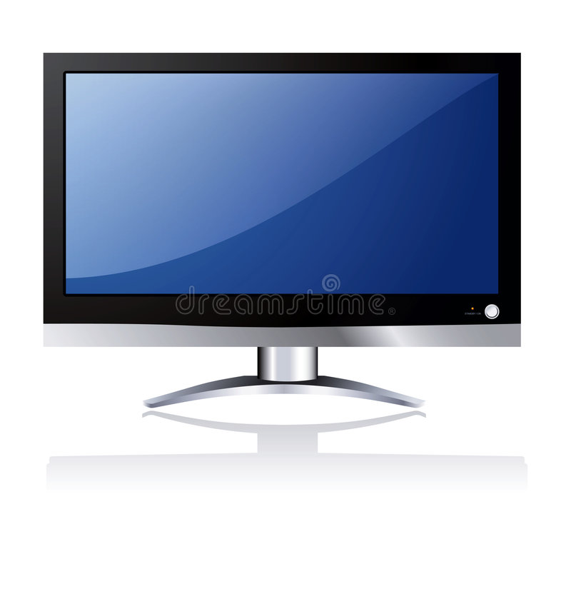 Lcd tv. With blue screen stock illustration